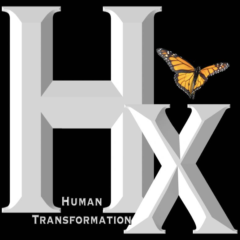 Human Transformation Metamorphosis Logo White on Black